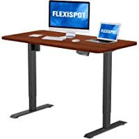 """Flexispot 48 x 30 Inches Electric Stand Up Desk, Whole-Piece Desk Board Ergonomic Memory Controller Standing Height Adjustable Desk Top Base (Black Frame + 48"""" MahoganyTop)"""