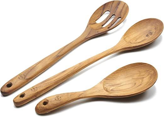 FAAY 3-in-1 Wooden Spoons for Cooking, Wood Spoon, Kitchen Utensils, 100%  Healthy from High Moist Resistance Teak for Non Stick Cookware