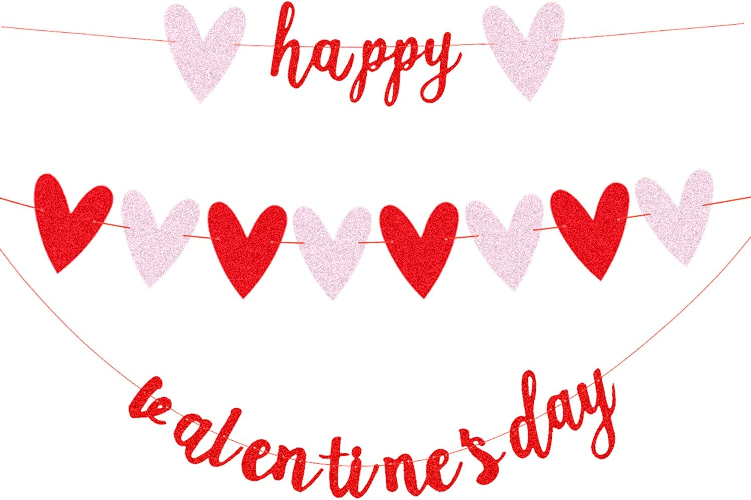JOZON Happy Valentine's Day Red Glittery Banner and Glittery Heart Banner Valentine's Day Banner Garland Valentine's Day Decor for Wedding Anniversary Engagement Party Decorations Supplies