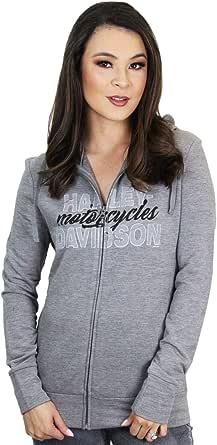 Harley-Davidson Womens Making The Cut Full Zip Grey Long Sleeve Hoodie