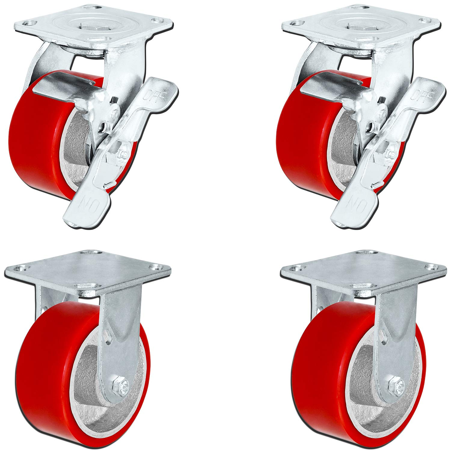 5 in. x 2 in. Heavy Duty Caster Set with Red Polyurethane on Steel Wheels, 1,100 pounds Capacity per Caster, 5'' Size (Set of 4), Toolbox casters