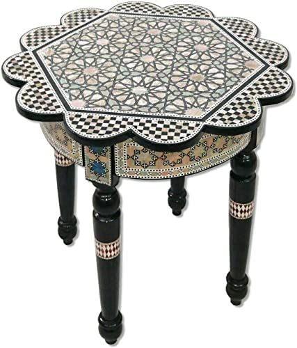 W165 Handmade Mother of Pearl Inlaid Art Egyptian Round/Rose End Side Table