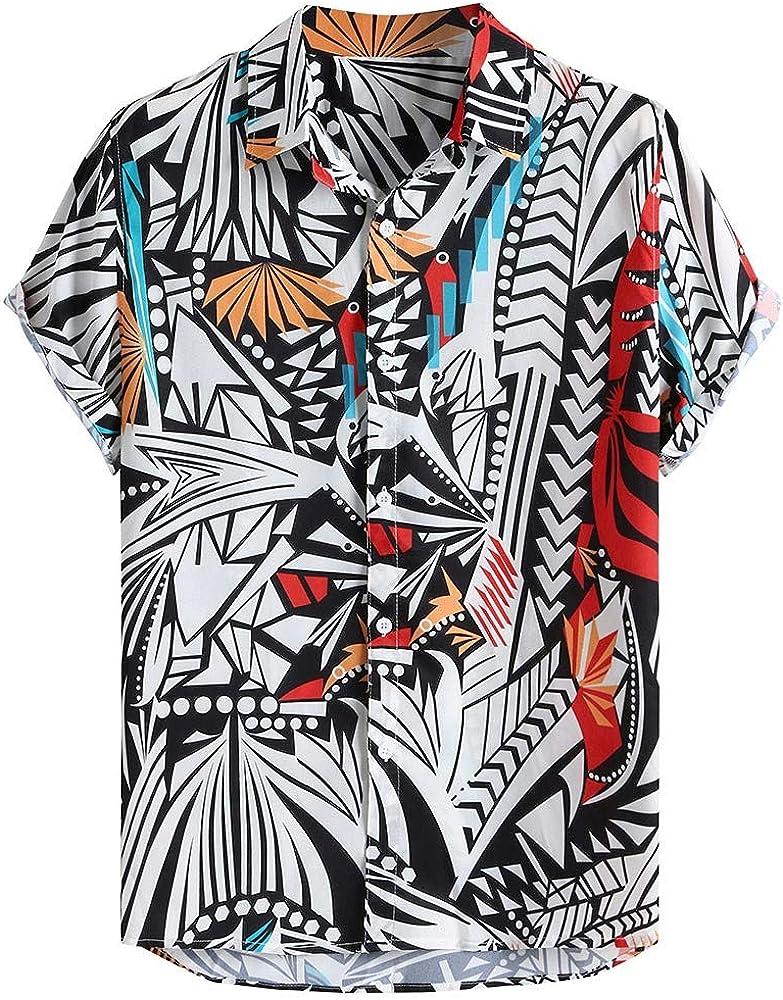 Rabbiter Camisas de Hippie Hawaianas para Hombre Camisa de algodón Suave de Playa de Manga Corta con Cuello Vuelto (Rojo, XXXL): Amazon.es: Ropa y accesorios