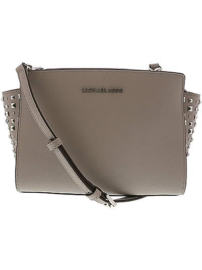 f37052df0ab69 Michael Kors Women's Selma Stud Medium Leather Messenger Bag Cross Body -  Ash Grey