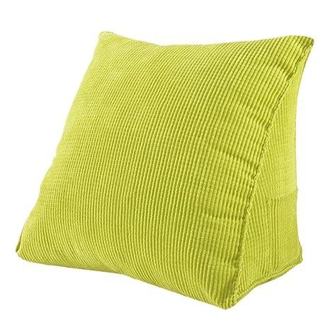 Woneart Almohadas de Lectura-Almohadas lumbares-Cojin cuña Cojines de Respaldo para sofá, Coche, Silla, Cama (Green, L: 55x55x28cm)