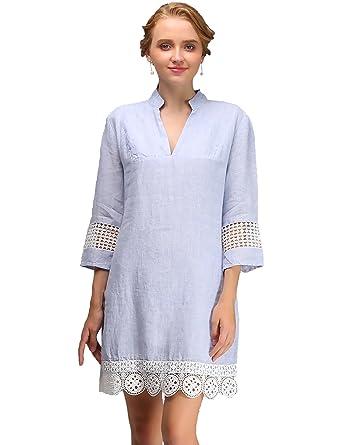 Vestir Women S Casual Summer Linen Dress With Long Sleeves Tops For