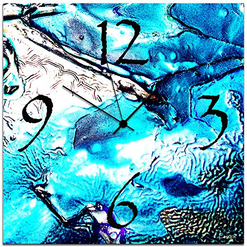Metal Art Studio Cool Jazz Clock' Abstract Metal Wall Clock, Blue