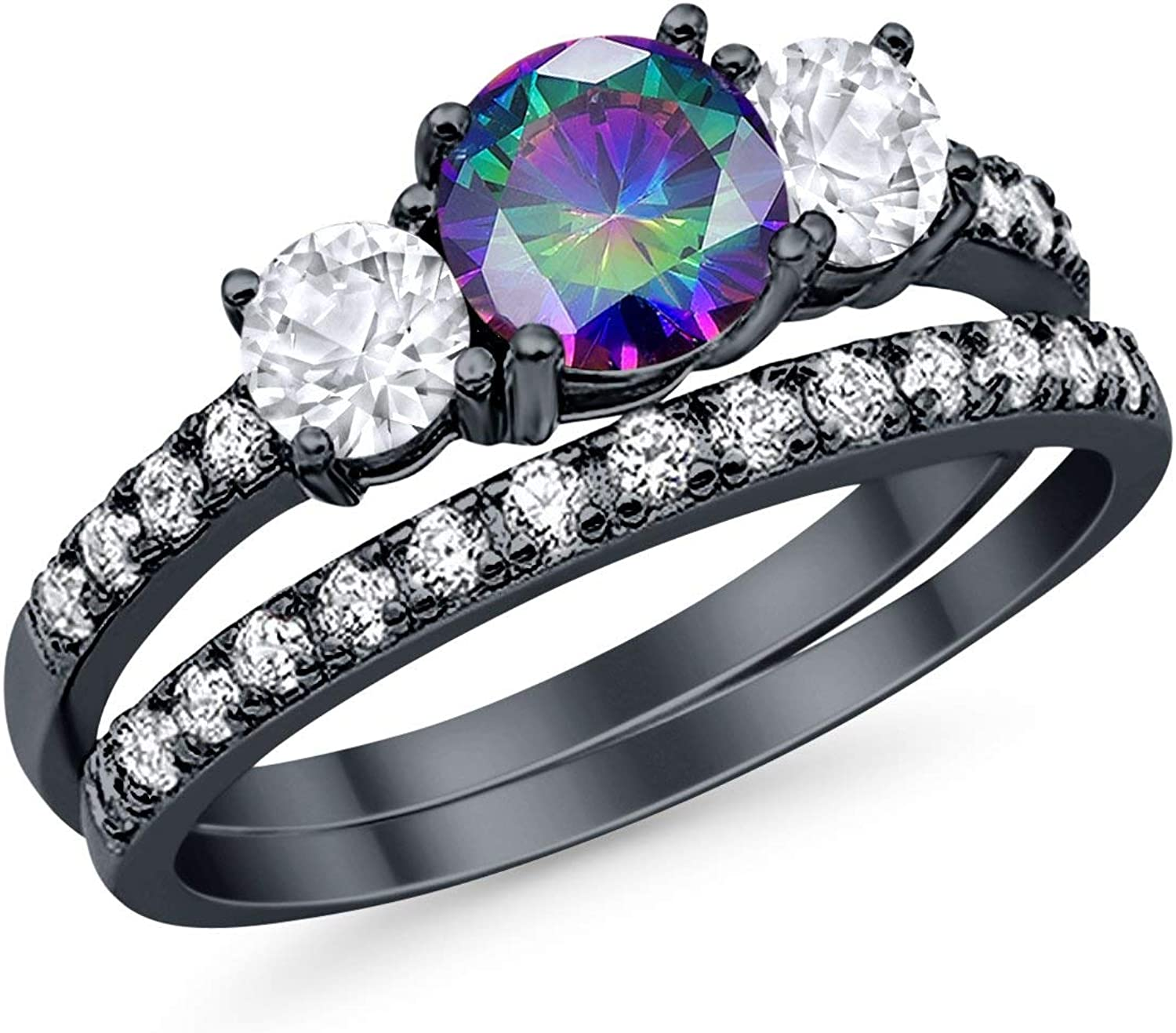 Blue Apple Co. 3-Stone Wedding Bridal Set Ring Band 925 Sterling Silver