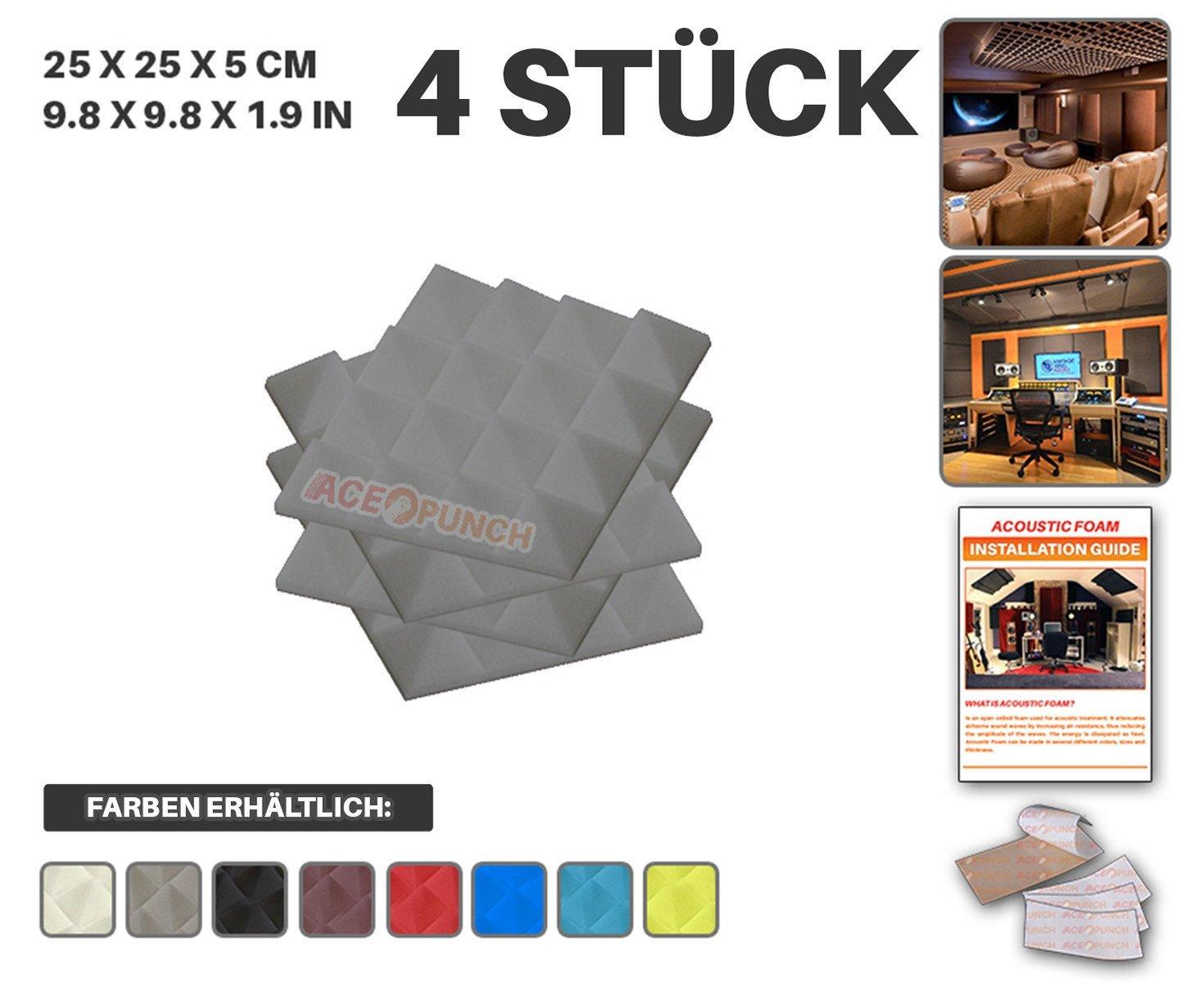 Acepunch 4 Stücke BLAU Pyramide Akustikschaumstoff Schallschutzisolierung Studio Fliesen Mit freien Klebestreifen 25 x 25 x 5 cm AP1034