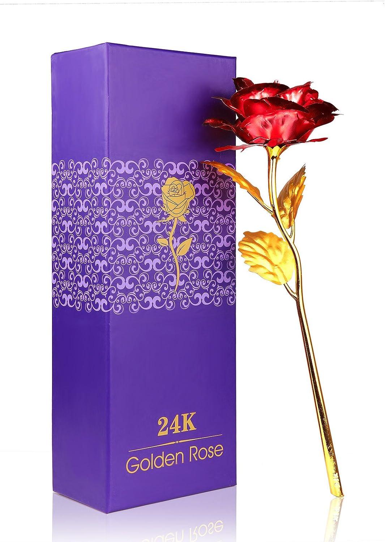 ACCEDE Rose Feuille dor 24K Plaqu/é Or 24 K Rose Fleur Rose Fleurs artificielles Rose avec bo/îte Cadeau pour la Saint-Valentin,f/ête des m/ères,Anniversaire,Mariage Rouge