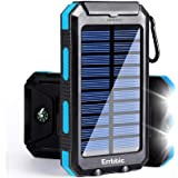 Solar Power Bank Portable Charger 20000mah Waterproof Battery Backup Charger Solar Panel Charger with Dual LED Flashlights an