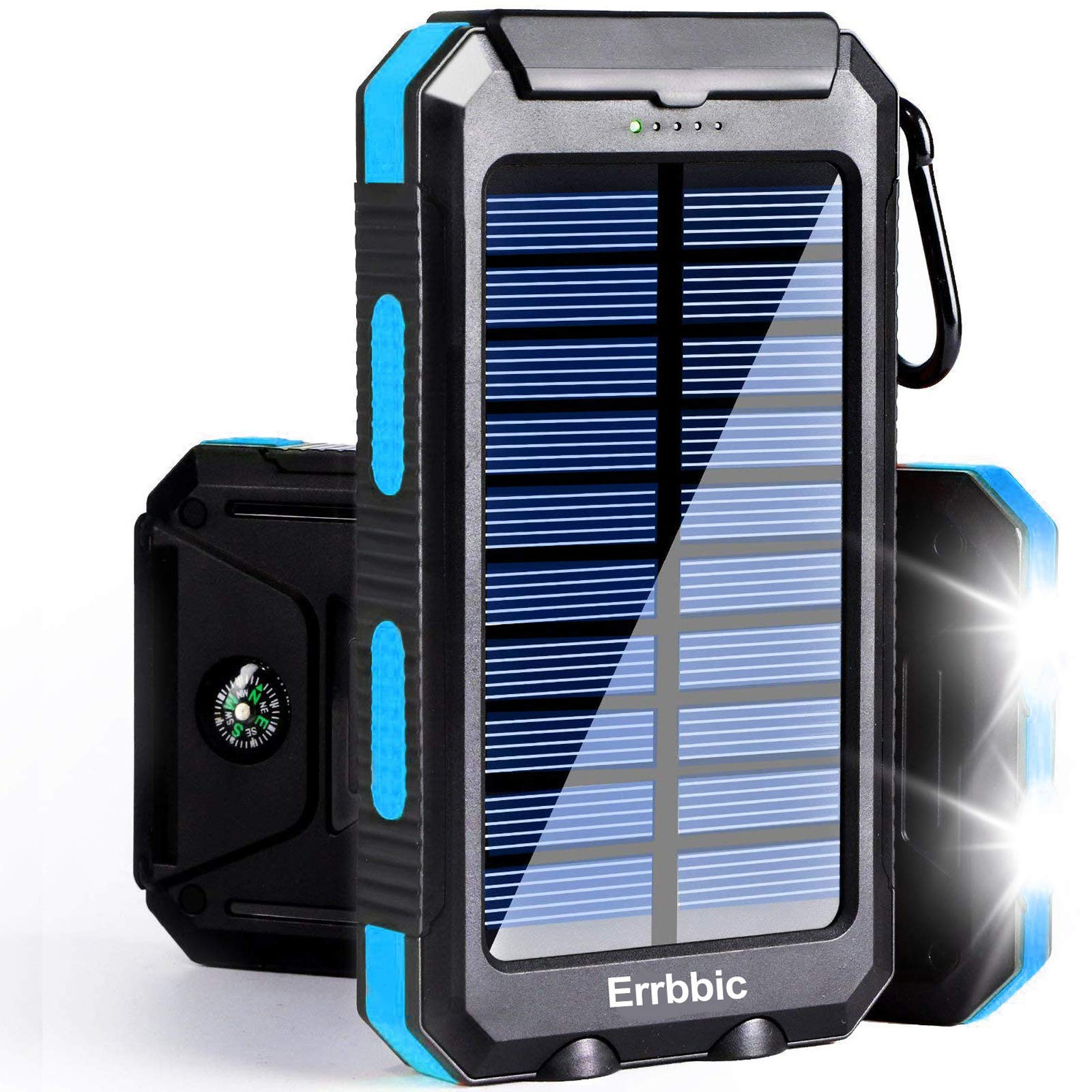 Solar Power Bank Portable Charger 20000mah Waterproof Battery Backup Charger Solar Panel Charger with Dual LED Flashlights and Compass for iPhone Android CellPhones