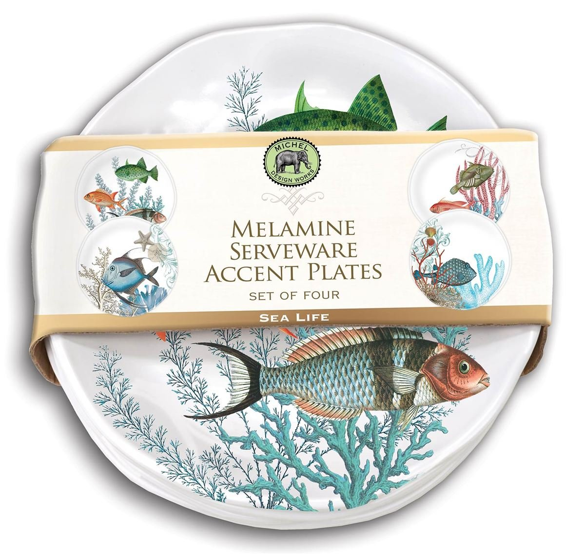 Michel Design Works Accent Plate Set of 4 (Sea Life)