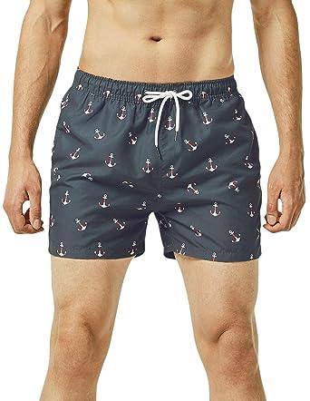 95099e8728 MaaMgic Mens Quick Dry Anchor Swim Trunks with Mesh Lining Swimwear Bathing  Suits - Black -: Amazon.co.uk: Clothing