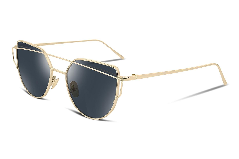 b3bb0737337 FEISEDY Cat Eye Mirrored Flat Lenses Metal Frame Women Sunglasses UV400   Amazon.co.uk  Clothing