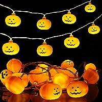 Luces Calabaza 3M 20LED Luces de Cadena de Calabaza con pilas Cadena de Luces Halloween Calabaza Decoraciones de…