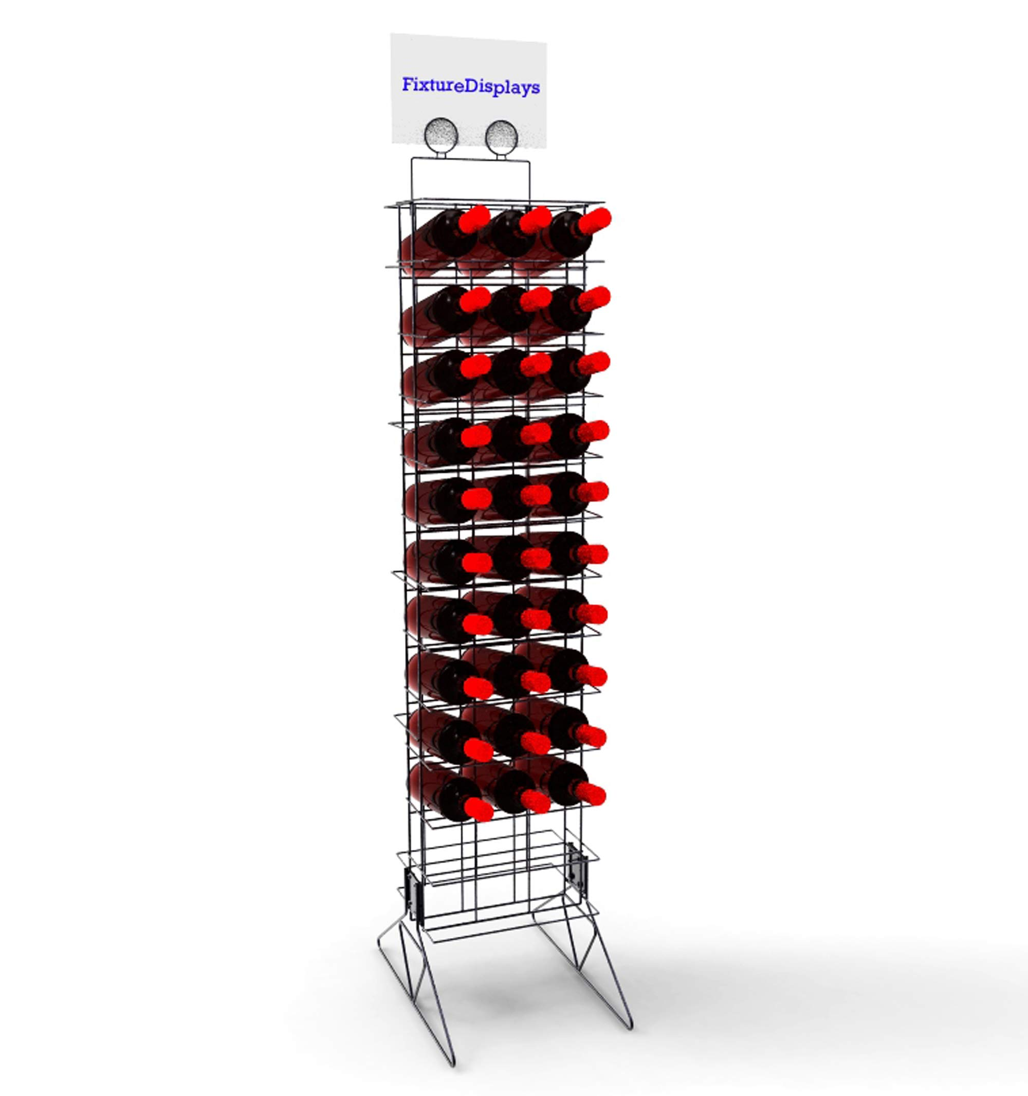 FixtureDisplays Wine Bottle Rack Liquor Rack Wire Metal Champagne Display Bar Storage Stand 19413!
