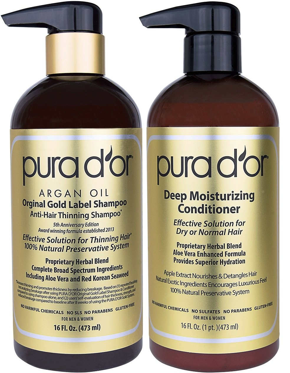 PURA D'OR Deep Moisturizing Premium Organic Argan Oil & Aloe Vera Conditioner, 16 Fluid Ounce 00609