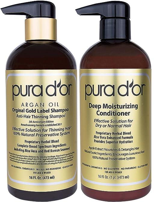 Pura d'or 金标防脱发洗护套装,用完头发蓬蓬的