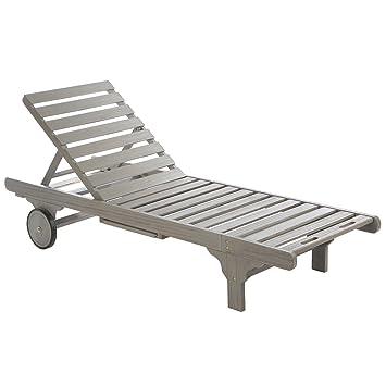Ultranatura Muebles de jardín - Tumbona Basics de madera dura, gris ...