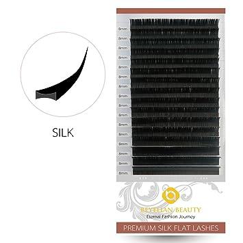 77c7591e241 Amazon.com : BEYELIAN Ellipse Flat Silk Individual Eyelash Extensions  Semipermanent Professional Salon Use False Lashes D Curl 0.15mm 8mm : Beauty