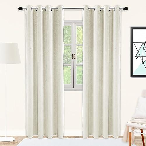 SNITIE Ivory White Velvet Curtains