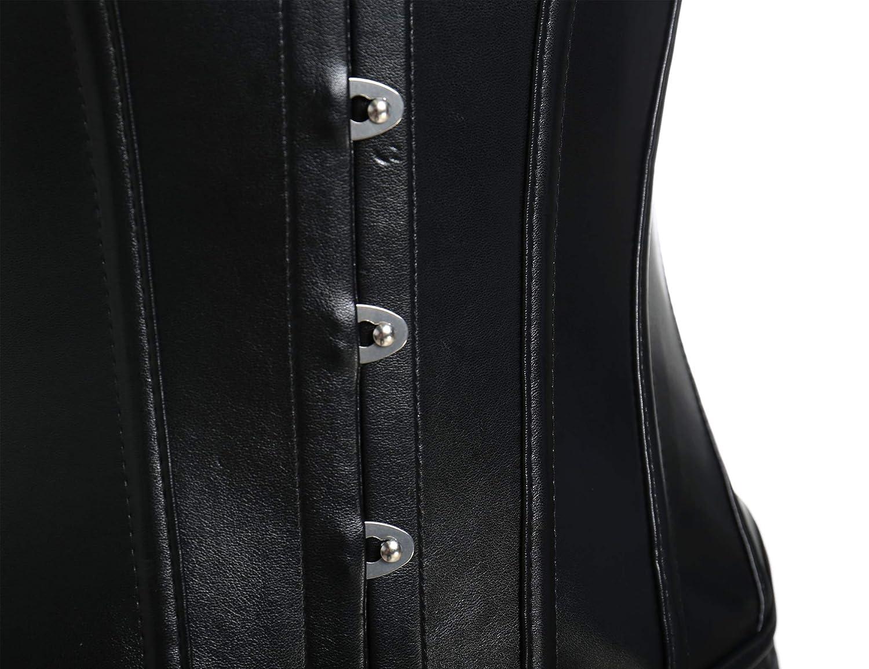 Amazon.com: VASLANDA - Vestido de piel sintética con corsé ...