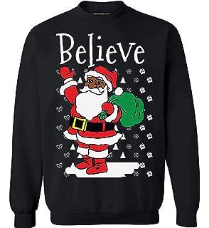 77d5872f947 Amazon.com  Black Believe Santa Claus Shirt - Fun African American ...