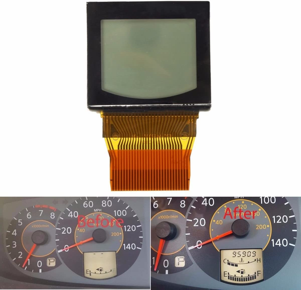 LCD with Bonded Ribbon for 2004 2005 2006 Nissan Quest Speedometer Cluster