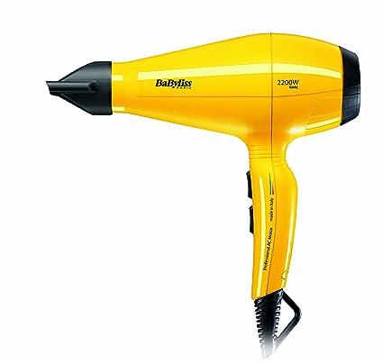 Babyliss Pro Silence - Secador de pelo (2200 W), color amarillo