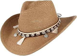 GUIHE Damas Sombrero para el Sol Panamá Sombrero de Paja Protección Solar al Aire Libre Empaquetado de ala Ancha Sombrero de Playa de Verano para Mujeres UPF 50,Green