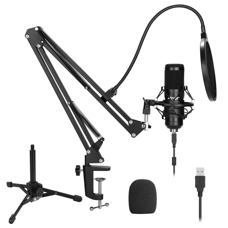 Kit de micrófono USB, AGPTEK 192KHz / 24Bit Micrófono de podcast de estudio de condensador USB con soporte de brazo de t