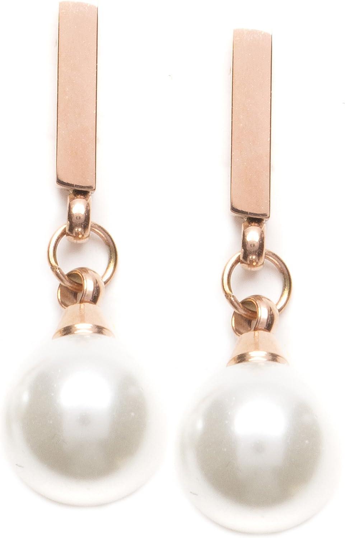 Happiness Boutique Damas Pendientes Delicados de Barra con Perla de Imitación en Oro Rosa | Pendientes de Lágrima Pequeños en Blanco