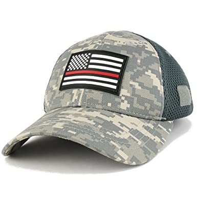 5c54253692b4dd THIN RED Line American Flag 3D Rubber Tactical Patch Low Crown Adjustable  Mesh Cap - ACU at Amazon Men's Clothing store: