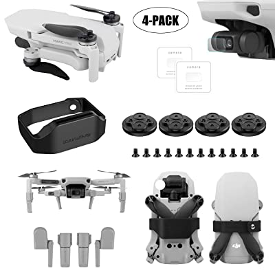 Tineer for DJI Mavic Mini Drone Accessory Kits - Protective Lens Film Foils + Propeller Guard Lock Fixing Paddle Clip + Landing Gear Extended Legs Sets + Upgrade Motor Cover Dust Proof Cap (Black) : Camera & Photo