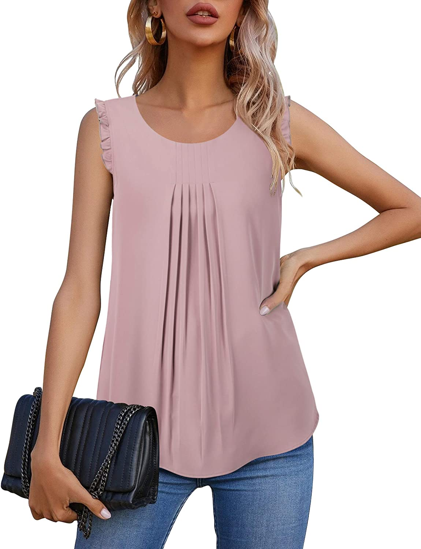 Lotusmile Women's Sleeveless Tank Tops Summer Ruffle Trim Chiffon Blouses Shirts