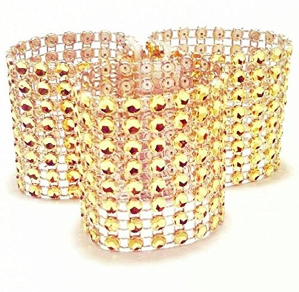 Jiamingyang 50pcs Napkin Rings Rhinestone Napkin Rings Adornment for Wedding Party (Gold)