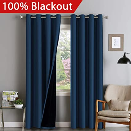 double layer curtains grommet 100 blackout curtain set thermal insulated blackout curtains double layer for bedroomliving amazoncom