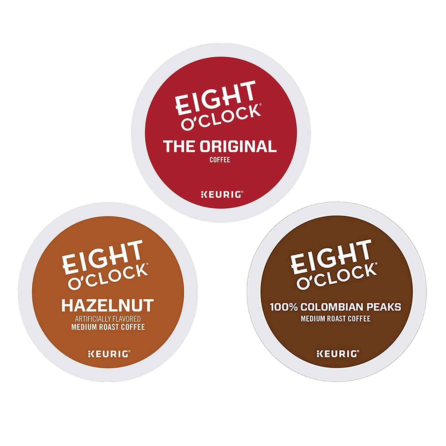 Eight O'Clock Coffee K Cups - Variety Pack - 80 Count , Original , Colombian Peaks & Hazelnut