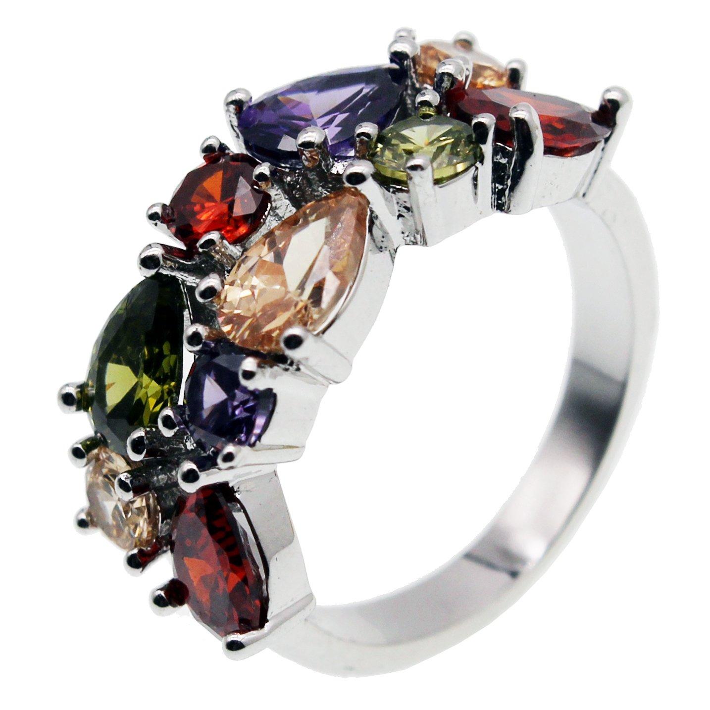Multi Gemstone Ring Morganite Garnet Amethyst Peridot Promise Wedding Party Ring for Girls Women Size 6 to 10 (9)