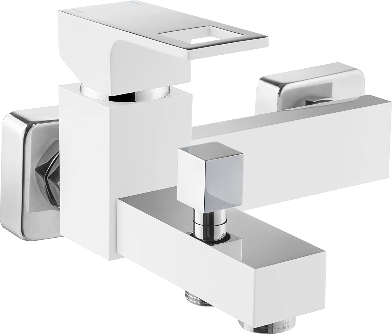 DEANTE Anemon Wei/ß Wannen Armatur Einhand Wannenbatterie Einhebelmischer Brause Aufputz ohne Duschset Luxusmall