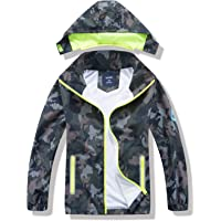 IjnUhb Boys Jacket with Hood, Camo Raincoat for Kids, Waterproof Baby Windbreaker Casual Outerwear