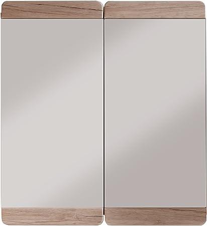 trendteam Camerino de baño con espejo Espejo Malea, 65 x 70 x 15 cm en acabado roble claro San Remo con mucho espacio: Amazon.es: Hogar
