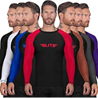 Elite Sports BJJ Jiu Jitsu Rash Guards, Men's BJJ, No GI, MMA Ranked Full Sleeve Compression Shirt Base Layer Athletic Rash Guard