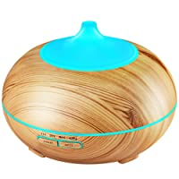 VICTSING 300ml Essential Oil Diffuser Cool Mist Humidifiers Ultrasonic Aroma Aromatherapy Diffusers for Home, Yoga, Office, Spa, Bedroom, Baby Room - Yellow Wood Grain