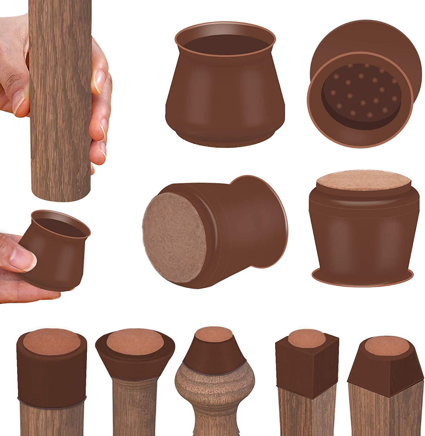 Dark Walnut Silicone Chair Leg Floor Protectors with Felt, Free Moving Table Leg Covers, Prevent Floor Scratches and Reduce Noise (16PCS)