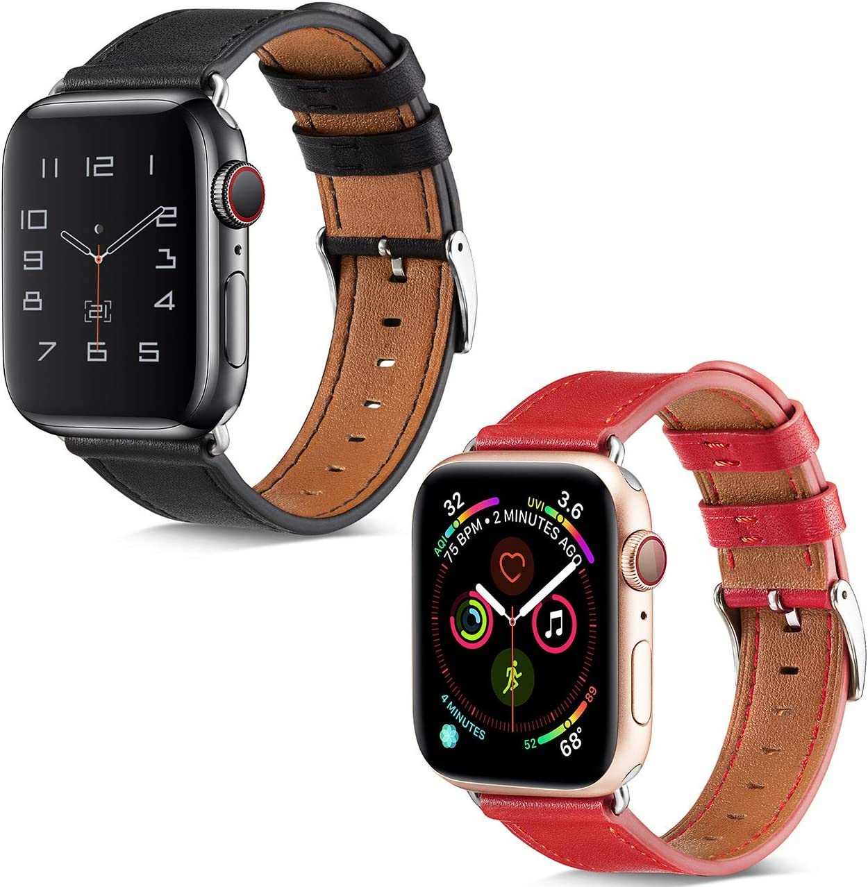 BELONGME Compatible with Apple Watch Band 44mm 42mm Black & Compatible with Apple Watch Band 4mm 42mm Red