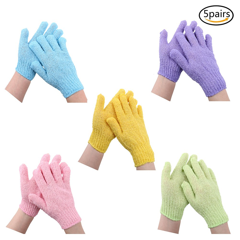 5 Pairs Exfoliating Bath Gloves Double Sided Scrubber Skin Spa Foam Bath Gloves Polyester Shower Gloves for Men Women Kids, 5 Colors maryy call me
