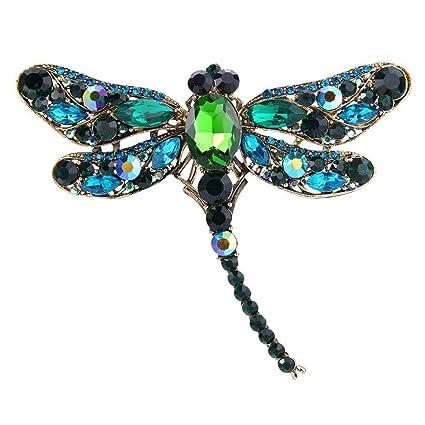 c4aa3be6f34e0 UNKE Elegant Dragonfly Bird Brooch Pin Crystal Rhinestone Animal Party  Jewelry,Peacock green