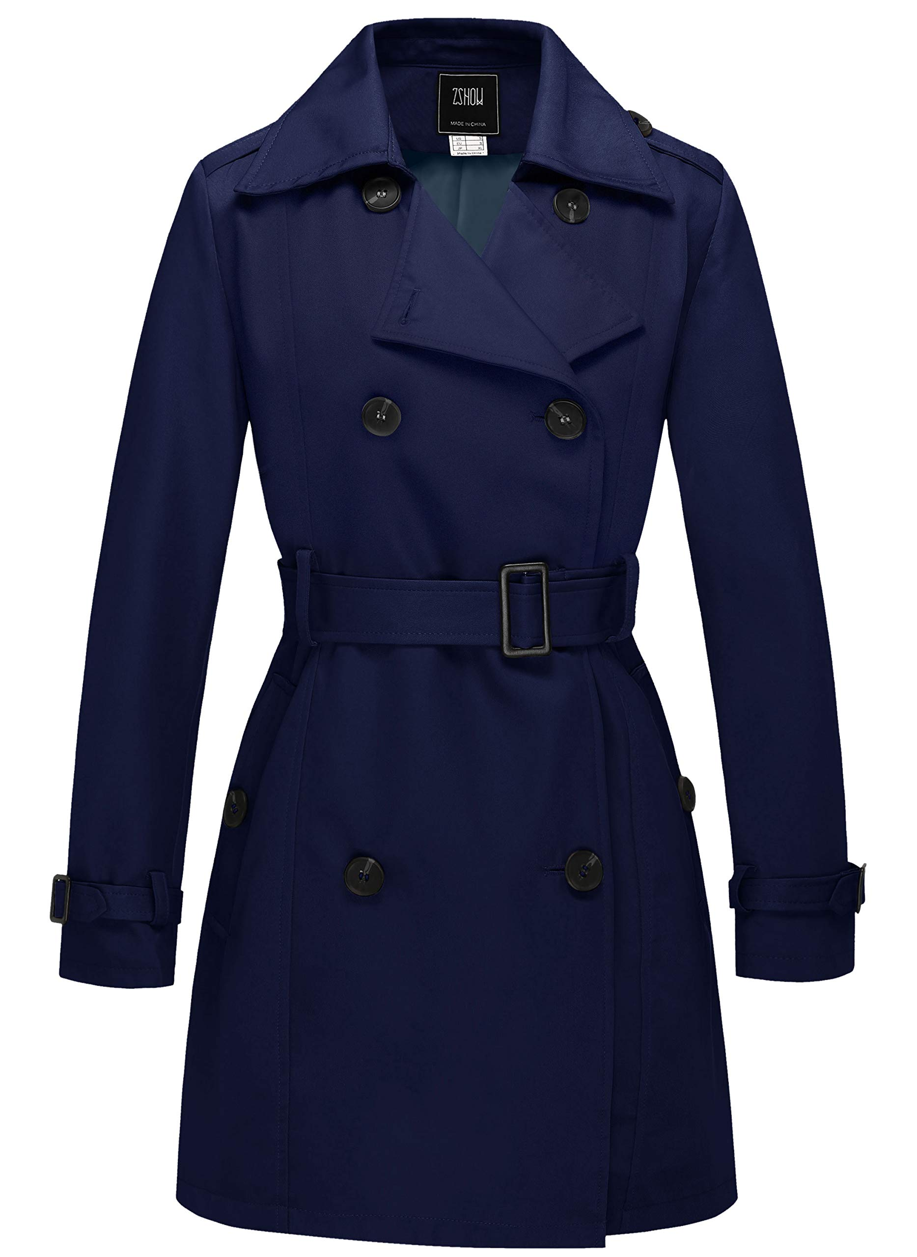 ZSHOW Women's Double Breasted Trench Coat with Belt(Navy,Small) by ZSHOW